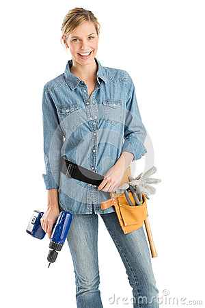 Free Female Construction Worker With Drill And Tool Belt Stock Photos - 32146253