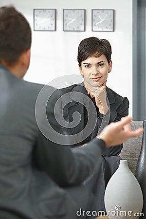Female consultant listening