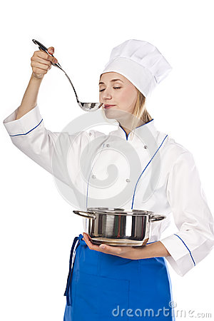 Female cook preparing a genuine recipe