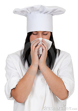 Female cook with snotty, runny nose