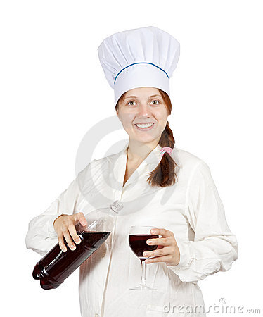 Female cook with wine