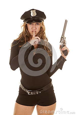 Free Female Cop Gun Finger Mouth Stock Photo - 32920590
