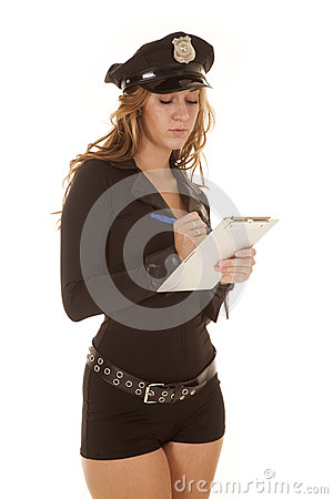 Female cop writing a ticket
