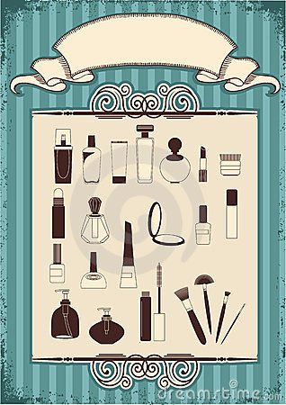 Female cosmetics on old vintage