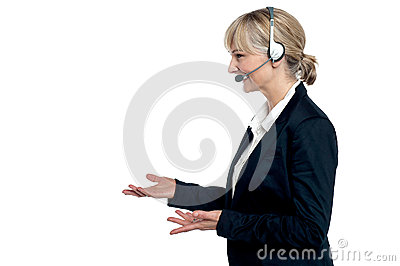 Female customer care agent in a conversation