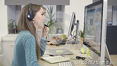 Female customer service. Call center stock video