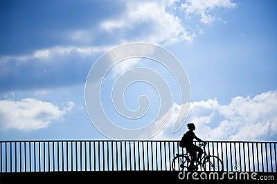 Female cyclist silhouette