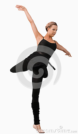 Female dancer standing on one foot