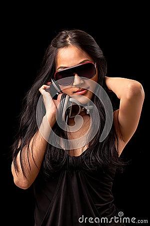 Female DJ in a black dress