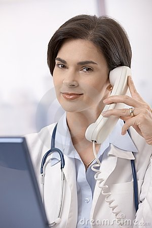Female doctor calling