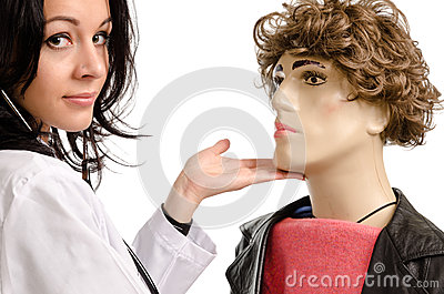 Female doctor caressing a male