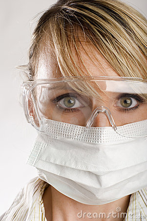 Female doctor with face mask