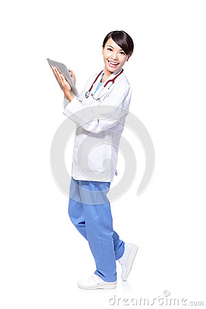 Female doctor happy using tablet pc