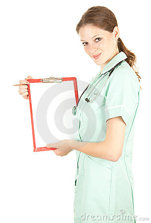 Female doctor holding blank clipboard