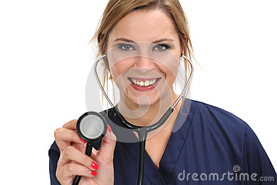 Female doctor holding stethoscope