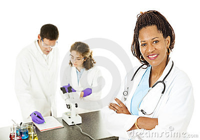 Female Doctor with Lab Techs