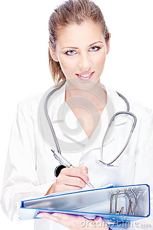 Female doctor with papers and stethoscope