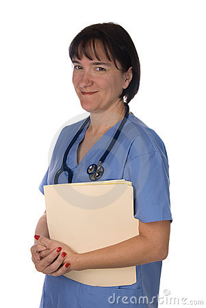 Female doctor with patient files