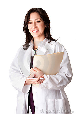 Female doctor physician with chart