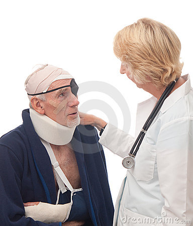 Female doctor reassuring senior patient
