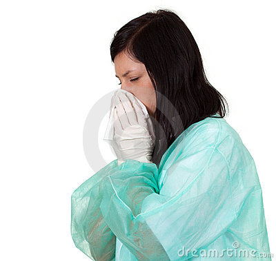 Female doctor with snotty, runny nose