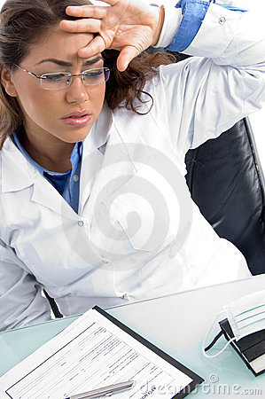 Female doctor in tension
