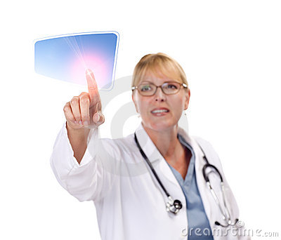 Female Doctor Touching Button on Touch Screen
