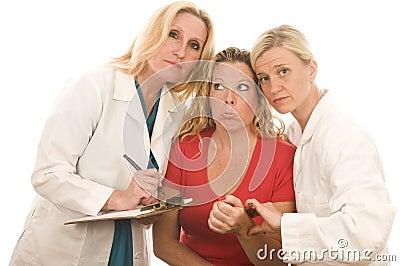Female doctors medical clothes patient