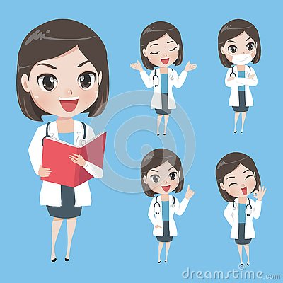 Female doctors in various gestures in uniform Vector Illustration