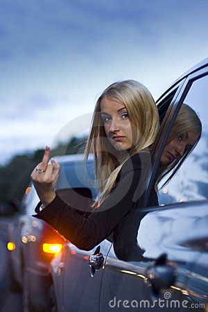 Female Driver Angry Gesture