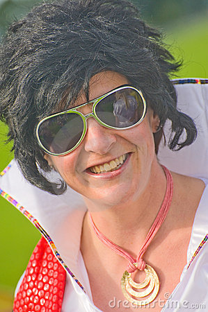 Female Elvis Presley look-a-like. Editorial Photo