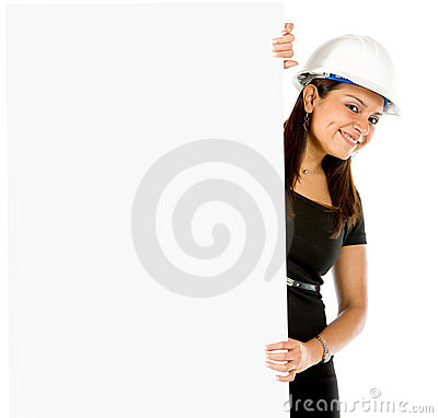 Female engineer with a banner