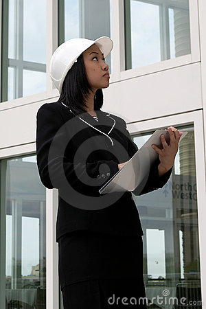Free Female Engineer Checking With Hard Hat Royalty Free Stock Photos - 780938