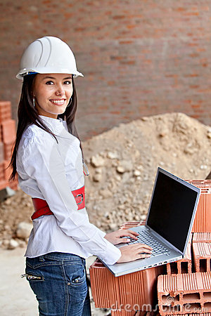 Female engineer with a computer