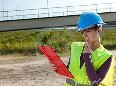 Female engineer in construction site