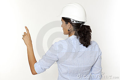 Female engineer pointing on virtual screen