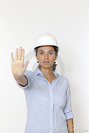 Female engineer saying stop