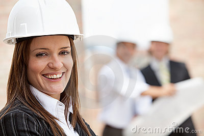 Female engineer smiling