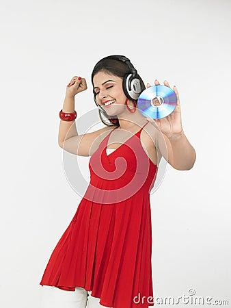 Female enjoying music