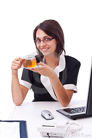Female entrepreneur having cup of tea