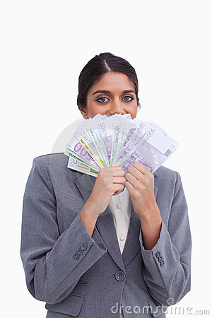Female entrepreneur hiding her face