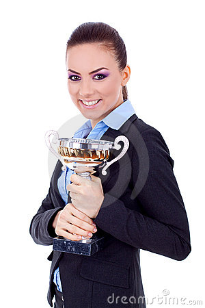Free Female Entrepreneur Holding A Trophy Stock Photography - 18360332