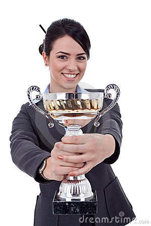 Free Female Entrepreneur Holding A Trophy Royalty Free Stock Photography - 18992437