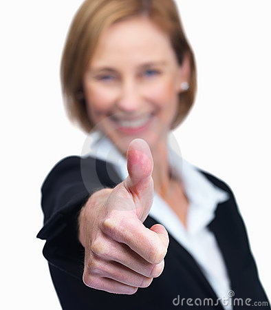 Female entrepreneur showing a thumbs up sign - Whi