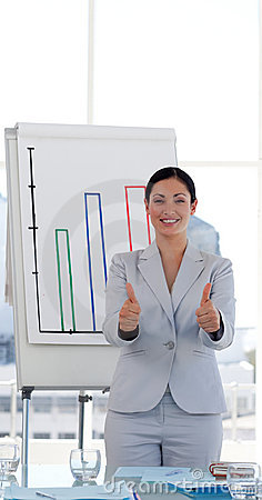 Free Female Entrepreneur With Thumbs Up Royalty Free Stock Photos - 9166618