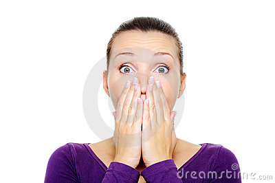 Female face with bright surprise emotion