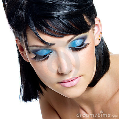 male to female makeup. FEMALE FACE WITH BRIGHTLY BLUE