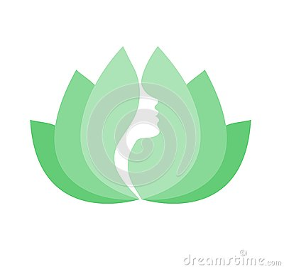 Free Female Face In Green Lotus Flower Royalty Free Stock Image - 32197346