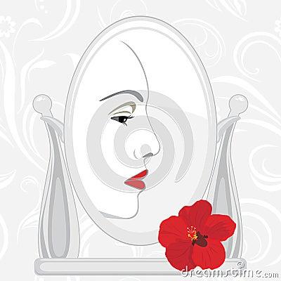 Female face in mirror