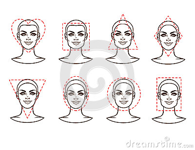 Female face of various types of appearance Vector Illustration